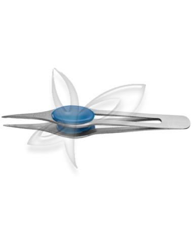 Pinça Ponta Agulha Inox - Anatómica - Azul