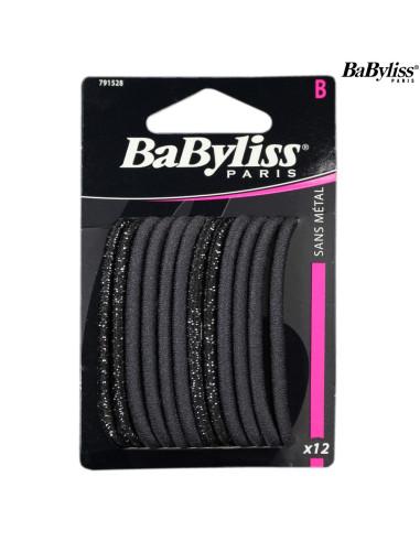 Pack 12 Elásticos Cabelo - Preto / Brilho - Babyliss desc Frizetes, Ganchos, Molas, entre outros Babyliss