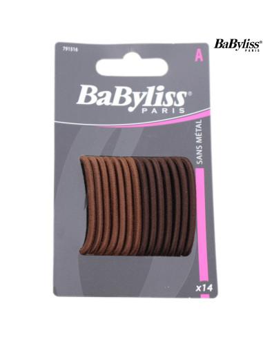 Pack 14 Elásticos Cabelo - Castanho - Babyliss desc Frizetes, Ganchos, Molas, entre outros Babyliss