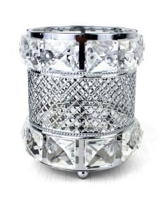 Suporte para Maquiagem - Cristal Redondo Prata Estilo Clássico | Pincel para Unhas