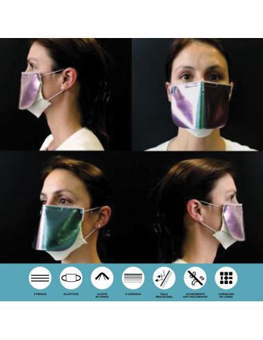 Mascara Reutilizável/ Lavável Modelo c/pala Colorida V4C