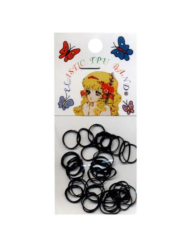 Elásticos para Cabelo Rubber Band Pequenos - Preto - 50 unidades  