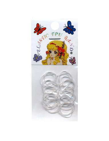 Elásticos para Cabelo Rubber Band Pequenos - Transparente - 50 unidades |